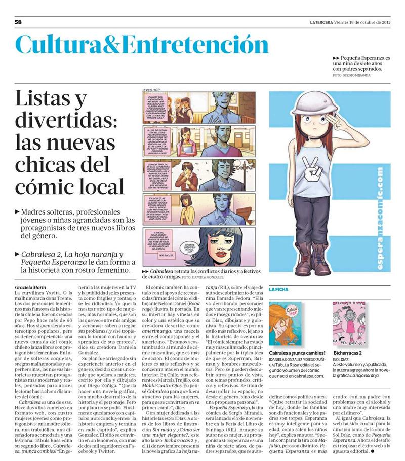 Cabrales en Diario La Tercera
